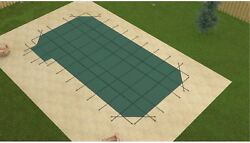 Gli Promesh Rectangle Swimming Pool Safety Cover W/ 4and039 Radius And Left Side Step
