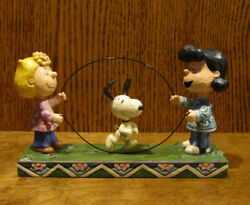 Jim Shore Peanuts 4055659 Sally, Lucy, Snoopy Jump Rope New From Retail Store