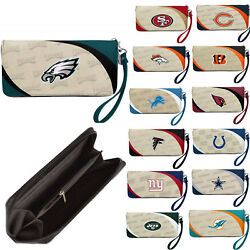 Nwt Nfl Pick Your Teams Women Synthetic Leather Curve Zip Organizer Wallet