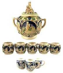 Gerz Germany German Castles Stoneware Punch Bowl And Mugs Set 9 Cups 2 Styles Nice