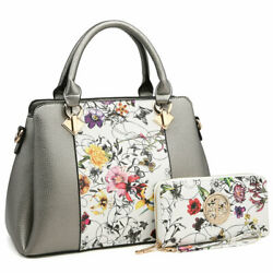 Women Medium Satchel Handbag Set Shoulder Purse Bag w Matching Wallet $39.99