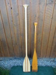 Antique Set 2 Different Style Oars 48 + 60 Long Boat Wooden Paddles Great