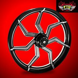 2000-2007 Harley Black Contrast 23 Inch Front Wheel And Floating Rotors Sniper