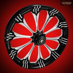 2000-2007 Harley Black Contrast 23 Inch Front Wheel And Floating Rotors Warlock