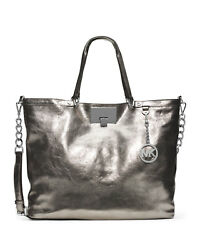 NWT Michael Kors Channing Large Shoulder Tote Metallic Nickel Leather Womens