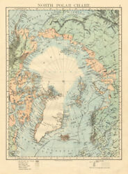 North Polar Chart Explorers Positions Greely 1882 Johnston 1892 Old Map