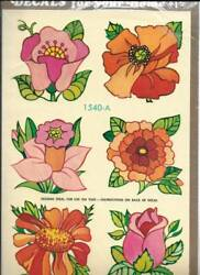 Awesome Vintage Decals by Meyercord Large Pink Orange Red Flowers