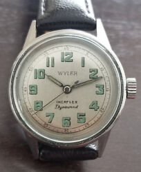 Vintage Wyler Incaflex Dynamic Luminous Military Dial Automatic Keeping Time
