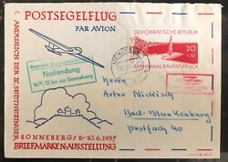 1957 Meiningen Ddr East Germany Glider Flight First Day Cover Fdc Stamp Exhibiti
