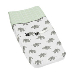 Changing Pad Cover For Mint Grey White Watercolor Elephant Safari By Sweet Jojo