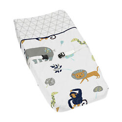 Sweet Jojo Diaper Changing Table Pad Cover For Blue Mod Jungle Baby Bedding Set