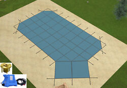 Gli Hyperlite Grecian Solid Pool Safety Cover W/ Right Step Pump And Wood Anchors