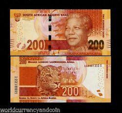 South Africa 200 Rand P-142 2014-2018 Noble Mandela Panther Tiger Unc Money Note