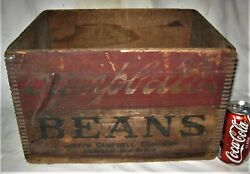 Antique Usa Country Campbells Pork Beans Food Store Tin Can Advertising Wood Box