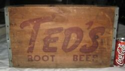 2 Antique Country Ted's Root Beer Soda Wood Box Crate Sign Moxie Boston Ma Usa