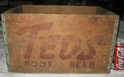 3 Antique Country Ted's Root Beer Soda Wood Box Art Crate Moxie Boston Ma Usa
