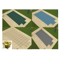 Gli Promesh Rectangle Swimming Pool Safety Covers W/ Center Step And Wood Anchors