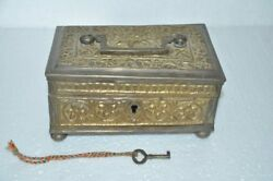 Old Brass Handcrafted Floral Embossed 6 Compartment Money/jewellery Box