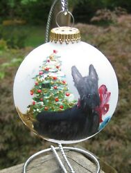 Hand Painted Scottie Dog Christmas Ornament 1995 by Martin White