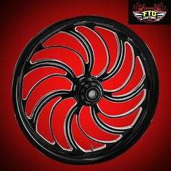 2000-2007 Harley Black Contrast 26 Inch Front Wheel And Floating Rotors Creeper