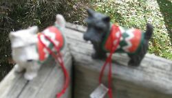 Pair of Black and White Scottie Dog Ornaments by Midwest