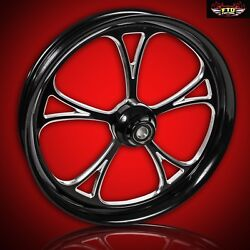 2000-2020 Harley Black Contrast 23 Inch Front Wheel And Floating Rotors Cyclone