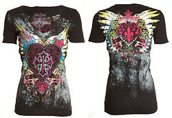 Archaic Affliction Womens SS T-Shirt DARLING Heart Wings BLACK Sinful S-XL $40 $20.99