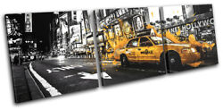 Yellow Taxi Cab Car New York Nyc City Treble Canvas Wall Art Picture Print
