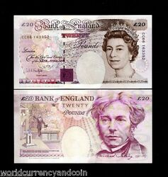Great Britain 20 Pounds P387 A 1993-1998 Queen Unc 1791-1867 Christmas Bank Note
