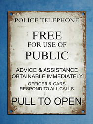 Police Telephone Rules Plaque Wall Poster Tin Signs Retro Metal Plate Decor