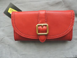 Frye Claude Red Buckle Oil Rubbed Leather  Wallet Phone Case Clutch NWT