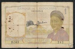 French Indo China 1 Piastre P52 1932 Buffalo Vietnam Money Bank Note Currency