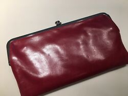 HOBO INTERNATIONAL~LAUREN~Leather Clutch Double Frame Wallet~RED