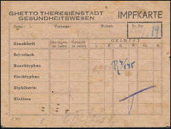1944 Original Germany Theresienstadt Concentration Camp Ghetto Health Card Kz