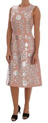 NEW $8800 DOLCE & GABBANA Dress Pink Wool Silver Floral Leather IT44 US10  L