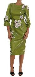 New 6200 Dolce And Gabbana Dress Green Pink Roses Print Sheath S. It40 / Us6 / S