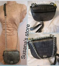 NWT bebe Gun MetalDark Gray Michelle Mini Saddle Bag - SIZE S Faux croc design!