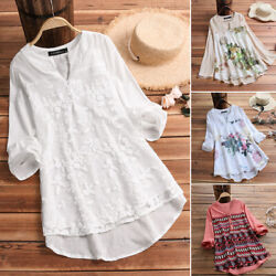 ZANZEA Women V Neck Long Sleeve Floral Top Embroidered High Low Shirt Blouse Tee