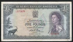 RHODESIA AFRICA  5 POUNDS P29 1966 ZIMBABWE QUEEN ANTELOPE RARE CURRENCY MONEY