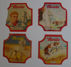 1950and039s Merita Bread Label Lone Ranger Lot Of 4 Differents