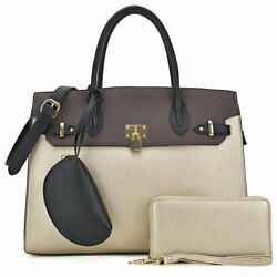 Women Large Handbags Faux Leather Satchel Purse with Matching Wallet mini Pouch $43.99
