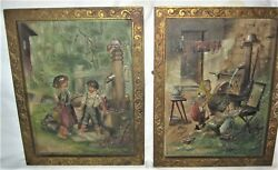 2 Antique Bradley Hubbard Usa Family Home Toy Cast Iron Art Plaque Oil Painting