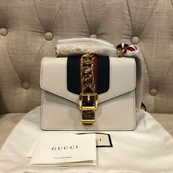 100% AUTH BNWT Gucci Sylvie New Mini White Leather Shoulder Bag