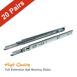 [pack Of 20 Pairs] 10-28 Full Extension Ball Bearing Cabinet Drawer Slides