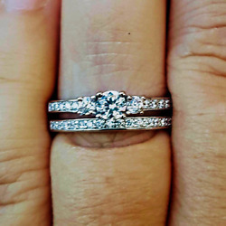.925 Sterling Silver Wedding Set CZ Ladies Engagement Ring Size 3 10 Bridal New $15.88