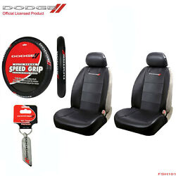 New 4 Pc Dodge Elite Logo Car Truck Suv Front Seat Covers Steering Wheel Cover