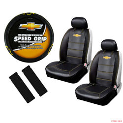 New 7pcs Chevy Elite Logo Car Truck Seat Covers Steering Wheel Cover Set