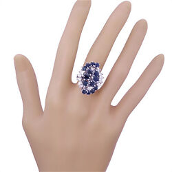 Vintage 14k White Gold Large Sapphire Diamond Cluster Ring 3.45tw Spectacular