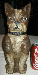 ANTIQUE HUGE GREENBLATT STUDIOS ARCADE BOSTON TERRIER CAST IRON STATUE DOORSTOP