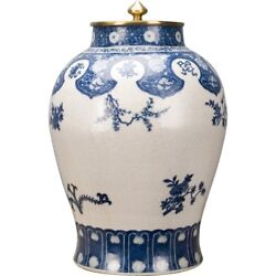 Blue And White Chinese Oriental Porcelain Ginger Jar Heavy Bronze Lid